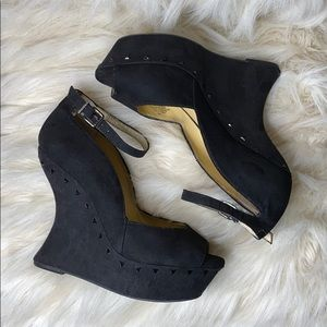 GIANNI BINI♣️ Spectacular Suede wedges♣️